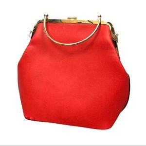 Vintage Red Leather Purse With Gold Hard Wear